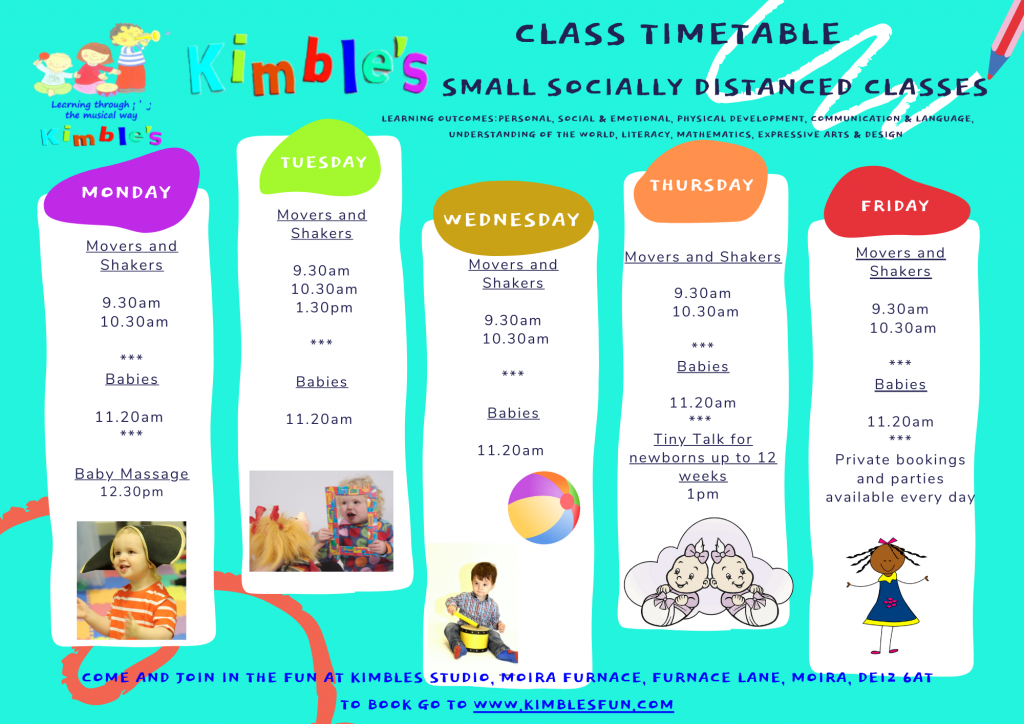 Kimbles Music and Movement class timetable